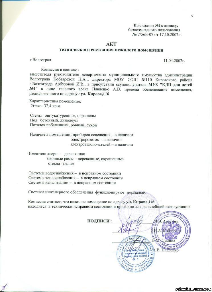 Акт приема-возврата нежилого помещения - alex-andr.ru.